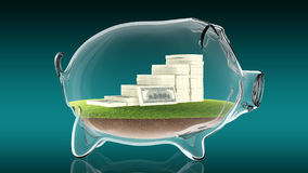 Pacs of money inside transparent piggy bank. 3d rendering. Conceptual image of a transparent piggy bank with a pacs of dollars. 3d rendering Royalty Free Stock Image