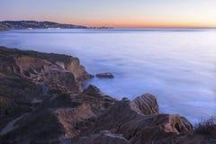 Pacyficznego oceanu zmierzchu krajobrazu Torrey sosny San Diego Kalifornia Zdjęcie Royalty Free