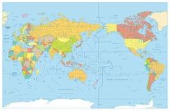 Pacyficzny Centrowany świat Barwił mapę z rzekami i swój imionami ilustracja wektor