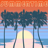 Pacyficzny palmy plaży plakat Pomarańcze paskuje niebo Obrazy Stock