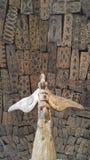 Pacyficznych wyspiarek statua i osłony Obraz Royalty Free
