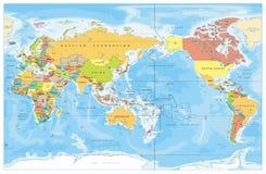 Pacyfik Centred świat Barwiącą mapę ilustracji