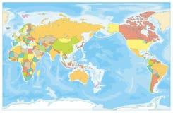 Pacyfik Centred świat Barwiącą mapę i batymetrię żadny tekst ilustracja wektor