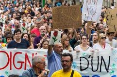 Pacyfik strajka protest, Barcelona obraz stock