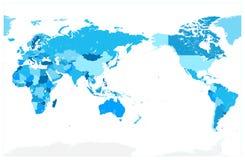 Pacyfik Ześrodkowywał Światową mapę W kolorach błękit żadny tekst ilustracja wektor