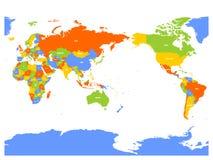 Pacyfik ześrodkowywał polityczną mapę świat również zwrócić corel ilustracji wektora Zdjęcie Royalty Free
