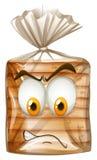Paczka chleb z gniewną twarzą ilustracja wektor