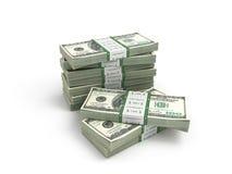 Paczka dolarowi rachunki odizolowywający na białym bacground Obrazy Stock