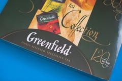 Paczka Greenfield herbata z wiele różnymi smakami obrazy royalty free