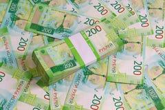 Paczka sto prześcieradeł nowi Rosyjscy dvuhmatchevyh rachunki w bankowość pakunku zdjęcie stock