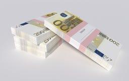 Paczki 200 Euro rachunków Obraz Royalty Free