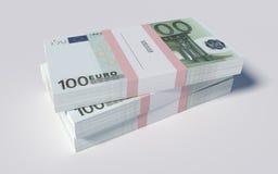 Paczki 100 Euro rachunków Obrazy Royalty Free