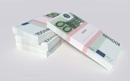 Paczki 100 Euro rachunków Obraz Royalty Free