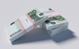 Paczki 100 Euro rachunków Zdjęcia Stock