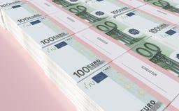 Paczki 100 Euro rachunków ilustracja wektor