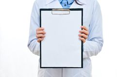 Pad in doctor's hands Royalty Free Stock Photography