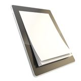 Pad electronic device with paper pages as screen Royalty Free Stock Images