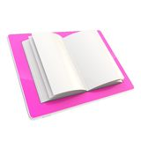 Pad electronic device with paper pages as screen. Digital girly diary as stylish glossy pink tablet device with the real horizontal oriented book paper pages royalty free illustration