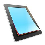 Pad electronic device with paper pages as screen. Take a digital note: stylish glossy tablet pad electronic device with the real vertical oriented a4 cmyk stock illustration