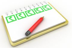 Pad holder and pencil with check boxes on white background Royalty Free Stock Photo