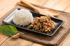 Pad-kra-prao.Thai food with rice. Royalty Free Stock Images