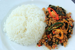 Pad Krapao Moo, spicy stir-fried pork with Thai Holy basil and c Royalty Free Stock Photography