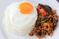 Pad Krapao Moo, spicy stir-fried pork with Thai Holy basil and c Stock Photo