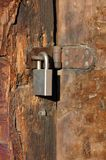 Pad Lock. A padlock secures an old rustic shed Royalty Free Stock Photo