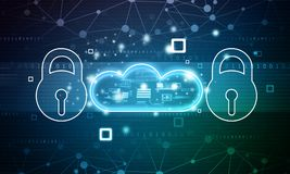 Pad lock with cloud on blue background. Cloud security concept. 2d illustration royalty free illustration