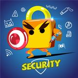 Pad lock hero. character design for pad lock holding waepon and. Shield to protect - illustration vector illustration