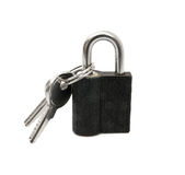 Pad lock and keys. Front view pad lock and keys with clipping path Royalty Free Stock Image