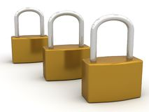 Pad Locks. An illustration of Three Brass Pad Locks Royalty Free Stock Photo