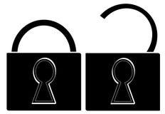 Pad locks opened and closed Stock Photo