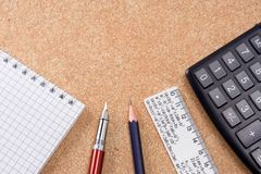 Pad, ruler and pens Stock Image