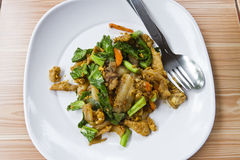 Pad See Ew/ Thai fried noodle dish with pork Royalty Free Stock Images