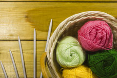 Pad with Suite for Knitting. The inverted pad with the different colored threads and spokes for knitting royalty free stock images