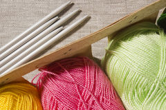 Pad with Suite for Knitting. The inverted pad with the different colored threads and spokes for knitting stock photography