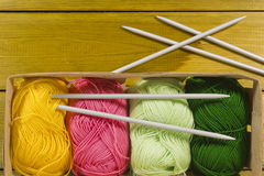 Pad with Suite for Knitting. The inverted pad with the different colored threads and spokes for knitting stock image