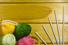 Pad with Suite for Knitting. The inverted pad with the different colored threads and spokes for knitting stock photos