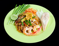 Shrimps Pad Thai a Thai popular food menu isolated Stock Photography