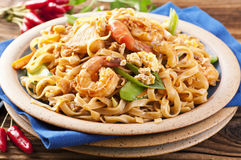 PAd Thai. With shrimps and eggs Royalty Free Stock Photography