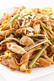 Pad thai. With chicken as closeup Stock Image
