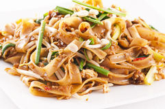 Pad thai. On the white plate Stock Images