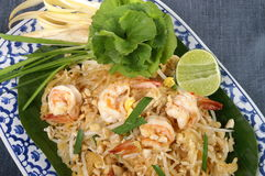 Pad Thai. Thai style fried noodle with shrimp Royalty Free Stock Image