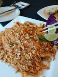 Pad thai in Downtown Canton Ohio. A pad thai from the Asian Basil Restaurant in Downtown Canton Ohio stock images