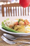 Pad Thai,Asian noodle fried with shrimp and egg Royalty Free Stock Photos