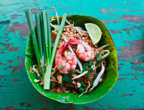 Pad thai in banana leaf Stock Photo