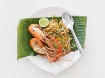 Pad thai with big shrimp Royalty Free Stock Photo