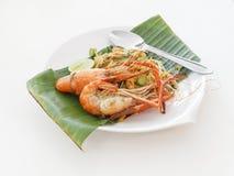 Pad thai with big shrimp Royalty Free Stock Photos