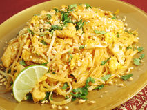 Pad Thai with Chicken. A popular Thai noodle dish Stock Photo